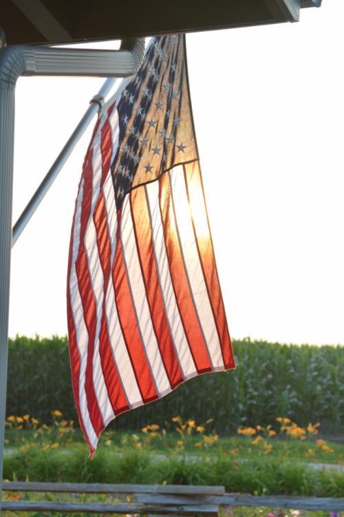 Flag on porch